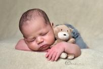 newborn with bear